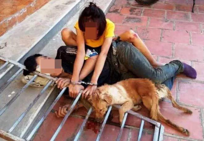 Cặp tình nhân trộm chó bị đánh hội đồng, xích cùng nhau bên tang vật - 1