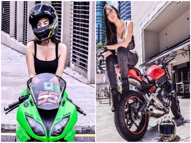 """Ngắm """"đả nữ"""" có thân hình bốc lửa bên môtô hàng khủng"""