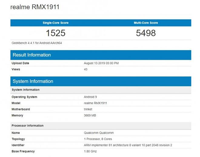 Realme 5 xuất hiện trên Geekbench với Snapdragon 665 và RAM 4GB - 1