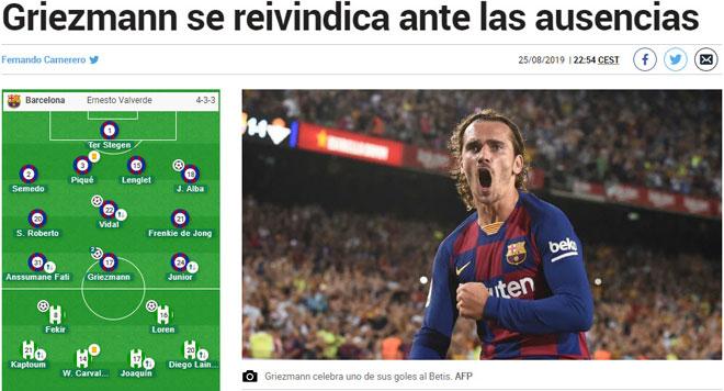 """Barca đại thắng vắng Messi: Báo chí vinh danh """"Hoàng tử bé"""" Griezmann - 1"""