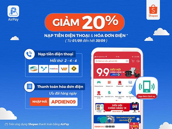 Tiết kiệm 20% khi nạp tiền điện thoại & thanh toán hóa đơn điện trên Shopee với AirPay - 1