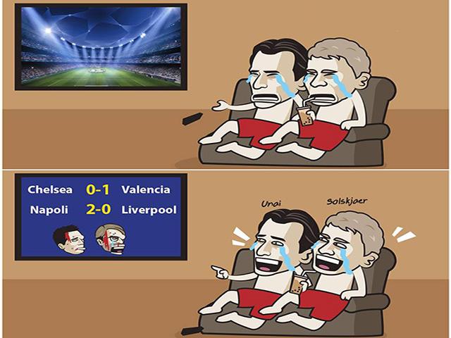 """Ảnh chế: MU, Arsenal """"hả hê"""" khi Chelsea và Liverpool thảm bại cúp C1"""