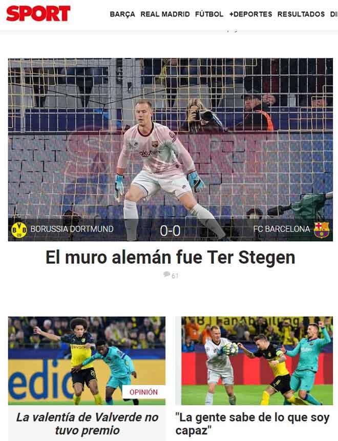 """Barca hút chết cúp C1: Báo chí khen """"người nhện"""" Stegen, chê Messi hứa suông - 2"""