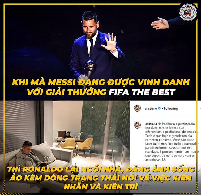 Trong khi Messi được vinh danh FIFA The Best thìRonaldo ngồi nhà hụt hẫng.