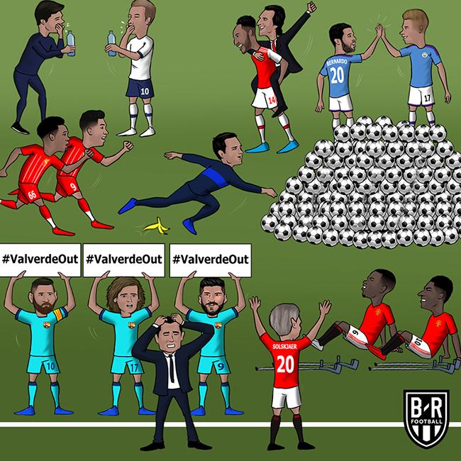 Toàn cảnh Ngoại hạng Anh và Barca khi kết thúc lượt đấuở cuối tuần vừa rồi.
