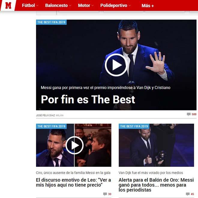 Messi ẵm FIFA The Best 2019: Báo chí ngợi ca thiên tài, lo Ronaldo hết thời - 1