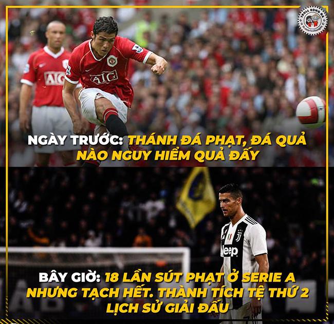 Đã lâu rồi Ronaldo chưa có sút phạt nào thành bàn.