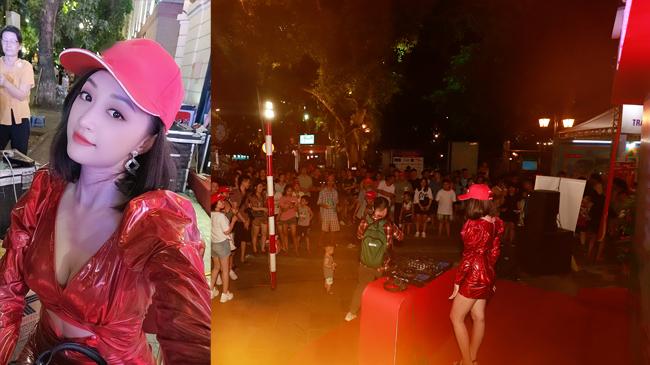 Vừa qua, một sự kiện tổ chức ở phố đi bộ Hà Nội đã thu hút hàng nghìn người theo dõi bởi tiếng nhạc bắt tai cùng sự xuất hiện của một nữ DJ xinh đẹp.