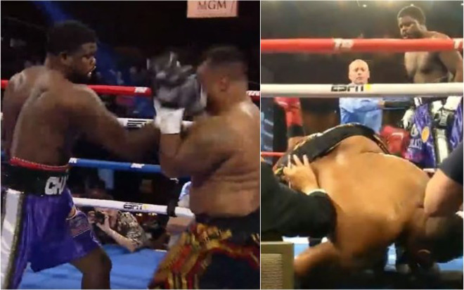 Rung chuyển boxing: Võ sĩ nặng hơn 100kg bị đấm bay khỏi võ đài - 1