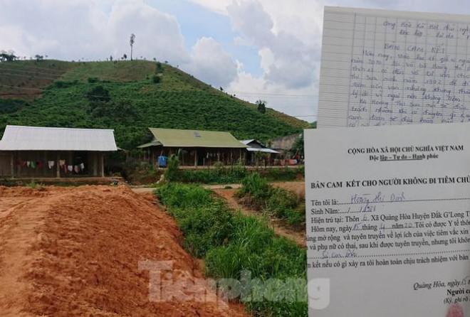 Đắk Nông: Cận cảnh những giấy cam kết không tiêm chủng 'rất lạ' - 1