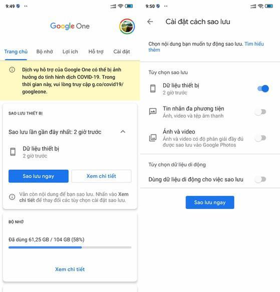 Cách sao lưu toàn bộ dữ liệu trên điện thoại bằng Google One - 1
