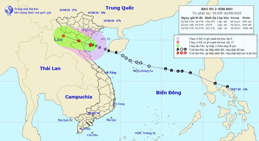 Bão số 2 bắt đầu đi vào vùng biển Thái Bình - Nghệ An, nhiều nơi đang mưa to - 1