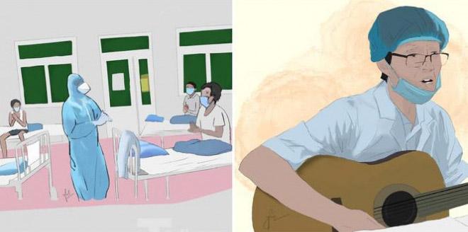 """Nữ sinh vẽ tranh tri ân những """"người hùng"""" giữa tâm dịch - 1"""