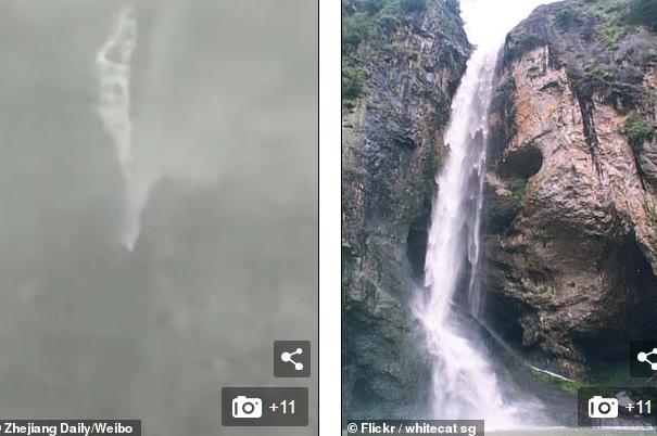 Video: Kinh ngạc cảnh gió bão thổi ngược dòng thác nước lớn ở TQ - 1