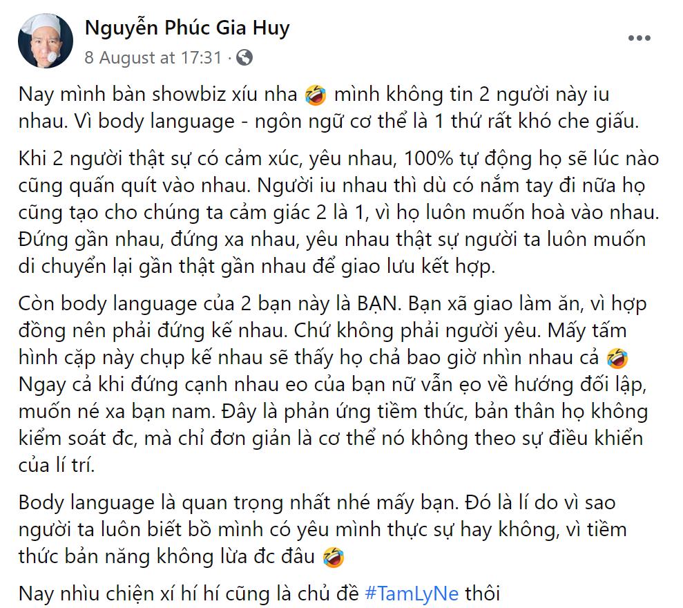 """Hương Giang và bạn trai CEO bị Vlogger nổi tiếng phân tích chỉ là """"hợp đồng tình ái"""" - 1"""