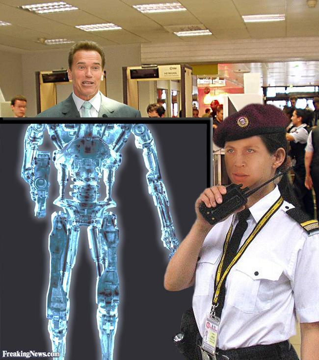 """Hình ảnh của """"kẻ hủy diệt"""" được nhìn thấy ở cổng kiểm tra an ninh sân bay."""