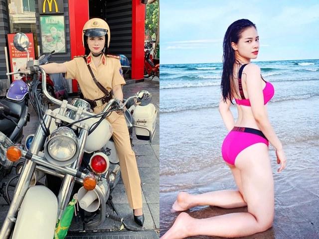 """Đời sống Showbiz - """"Nữ cảnh sát giao thông khiến fan tình nguyện nộp phạt"""" lột xác quá gợi cảm ở đời thường"""