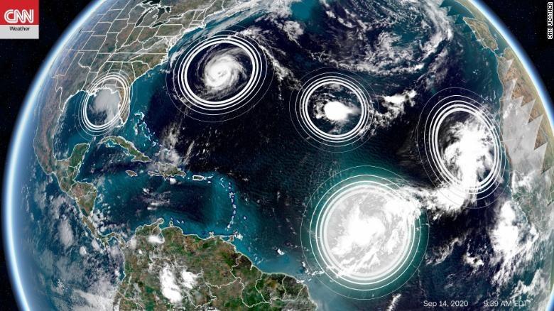 Lần thứ hai trong lịch sử 5 cơn bão xuất hiện đồng thời ở Đại Tây Dương - 1