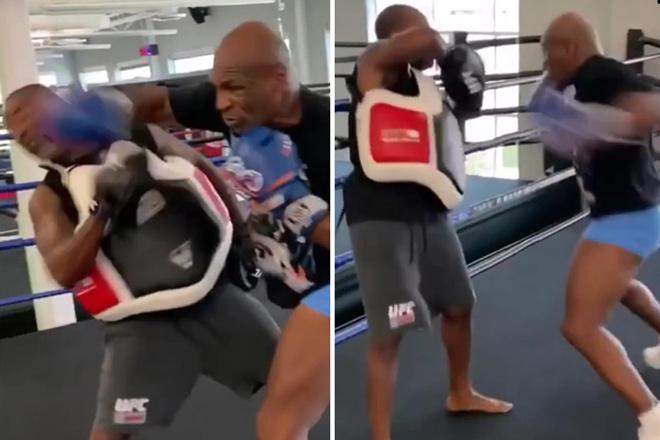"""Mike Tyson nóng lòng thi đấu, tung đòn """"búa thép"""" đấm HLV khiếp sợ - 1"""