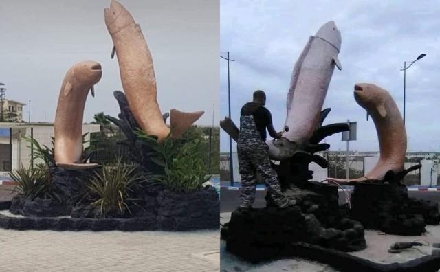 """Morocco phá hủy bức tượng cá giống """"của quý"""" gây tranh cãi - 1"""