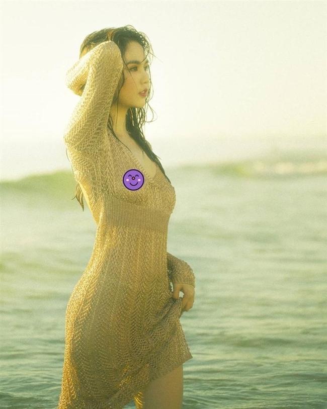 Trong ảnh, chân dài 8X diện váy lưới, khoe triệt để đường cong gợi cảm. Tuy nhiên, Ngọc Trinh bị fan soi việc không mặc nội y, lộ điểm nhạy cảm.