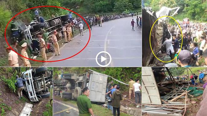 Xe tải lật nghiêng khi đổ đèo, 2 người bị thương, nhiều con trâu chết - 1