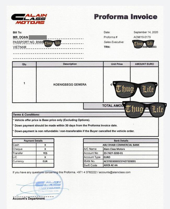 Mới đây, một nhân vật có tiếng trong lĩnh vực nhập khẩu xe hơi trong nước đã đăng tải bức hình hợp đồng đặt mua chiếc Koenigsegg Gemera về Việt Nam