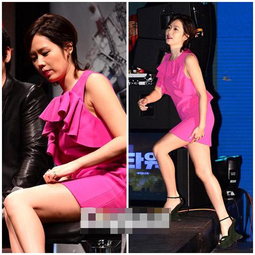 Sao Hàn loay hoay giữ váy - 1