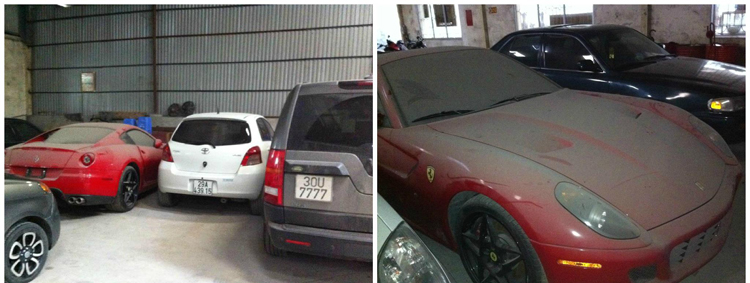 Ferrari 599 GTB để lâu không đi nên đã bị bụi phủ dày đặc