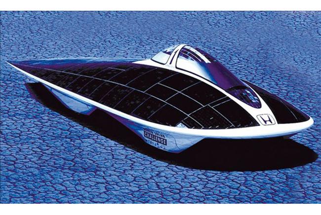 Honda Dream Solar Car sử dụng năng lượng mặt trời sẽ rất phù hợp, bởi động cơ truyền thống sẽ không có nhiên liệu để vận hành - Ảnh: MSN.