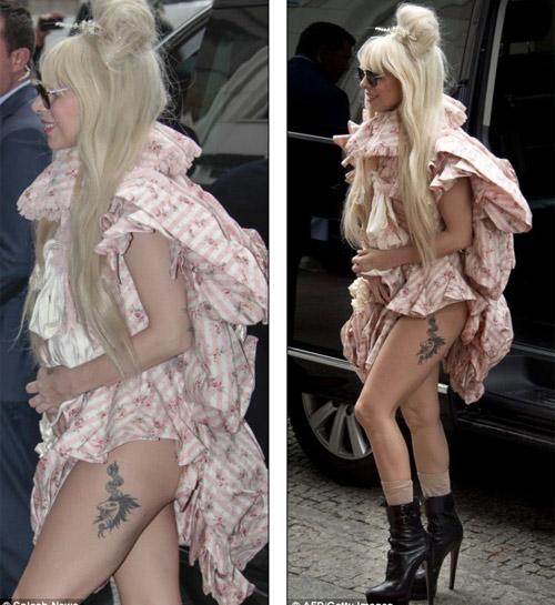 Lady Gaga khoe hình xăm nơi đùi trái - 1
