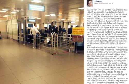 Thu Minh phẫn nộ vì bị đối xử thô lỗ ở sân bay - 1