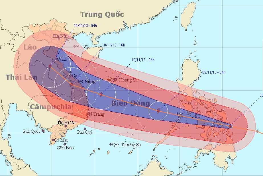 Siêu bão Haiyan băng băng tiến vào Biển Đông - 1
