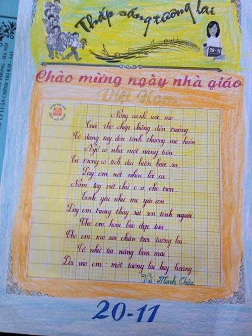 Cô bé lớp 3 làm thơ tặng thầy cô ngày 20/11 - 1