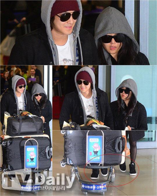 Kim Bum nắm chặt tay bạn gái tại sân bay - 1