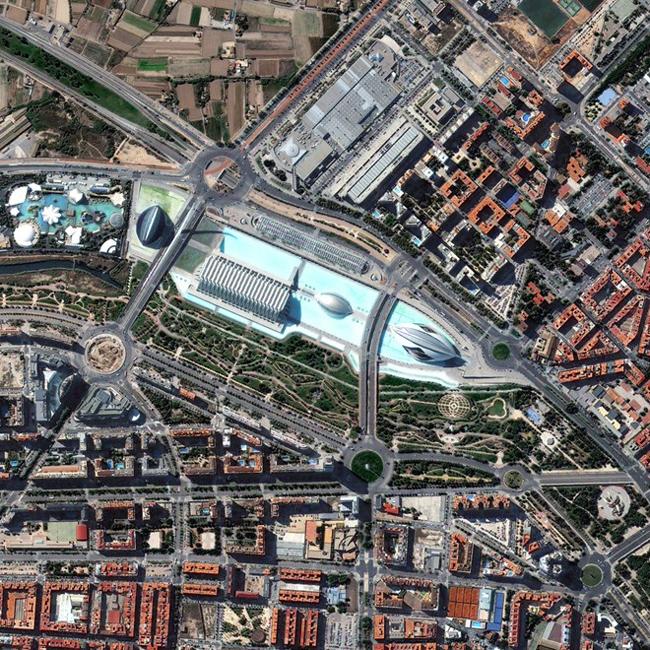 Công viên Palau de les Artes Reina Sofia và Gulliver ở thành phố Valencia, Tây Ban Nha. Ảnh: DigitalGlobe.