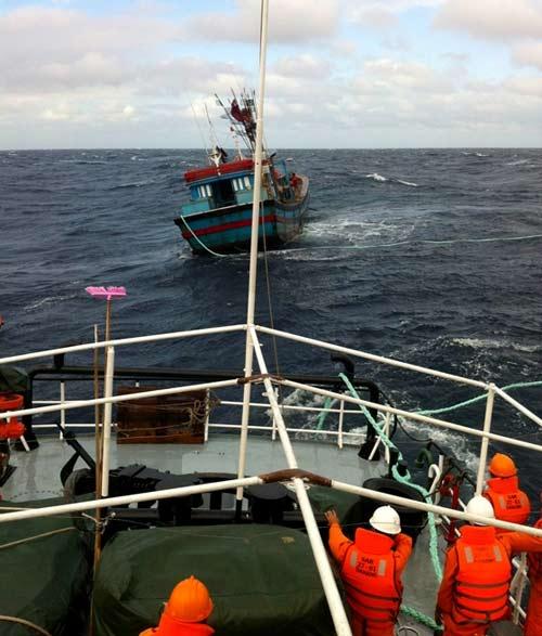 Cứu 11 thuyền viên đang hoảng loạn trên biển - 1