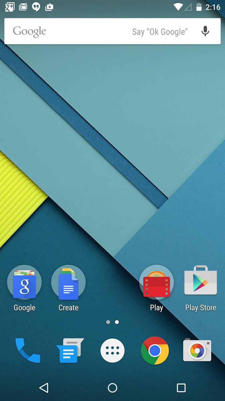 Màn hình chủ với thanh tìm kiếm Google mặc định ở cạnh trên.