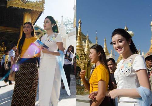 Huyền My xinh đẹp rạng rỡ với quốc phục Myanmar - 1