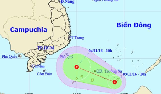 Xuất hiện áp thấp nhiệt đới mạnh cấp 6 trên quần đảo Trường Sa - 1
