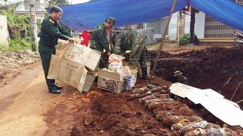 Đắk Lắk: Phát hiện 80 quả đạn pháo trên đường phố - 1
