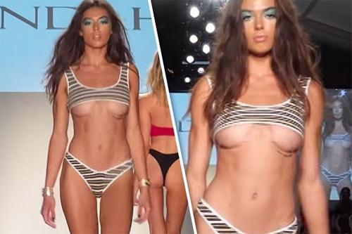 Thót tim vì người mẫu mặc bikini ngắn khó tin khi diễn - 1