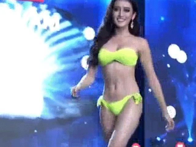 Huyền My trình diễn bikini bốc lửa tại Hoa hậu Hòa bình
