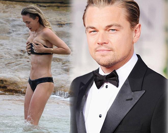 """Bóng hồng """"qua tay"""" Leonardo DiCaprio cởi dây áo tắm lộ liễu - 1"""