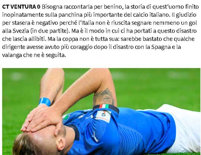 """Italia lỡ hẹn World Cup 2018: Báo chí gọi HLV Ventura """"vô liêm sỉ"""" - 1"""