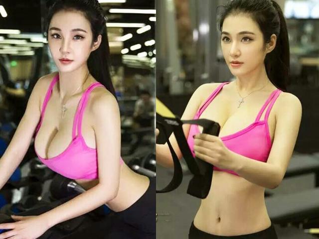 """Cặp đôi """"siêu vòng 1"""" xứ Trung quá nóng bỏng khi tập gym"""
