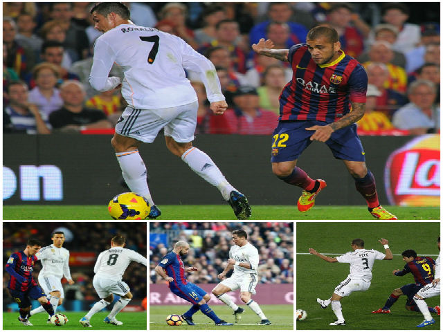 """Khoảnh khắc thiên tài Real – Barca: Messi vua """"xỏ háng"""", Alves """"sỉ nhục"""" Ronaldo"""