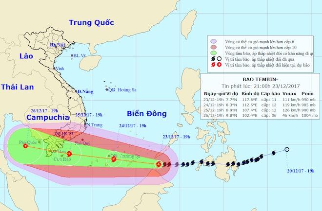"""Bản tin bão 21h30: Bão Tembin """"thần tốc"""" vào biển Đông, sóng cao chục mét - 1"""