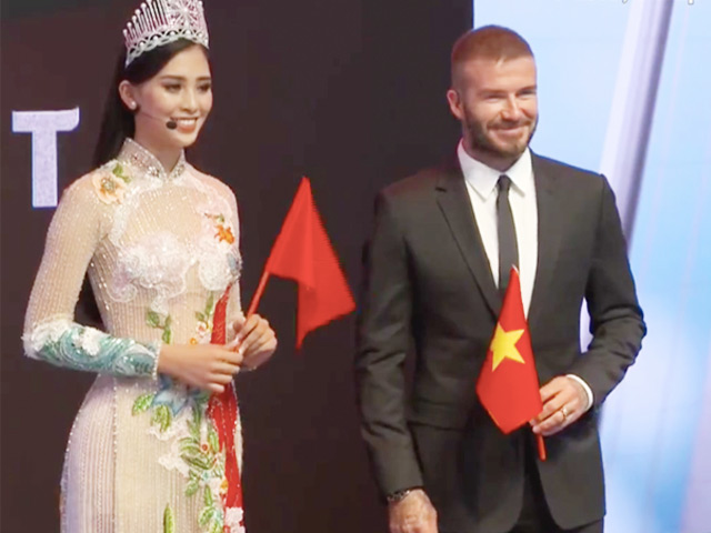 Hoa hậu Tiểu Vy mặc áo dài trong suốt bên David Beckham