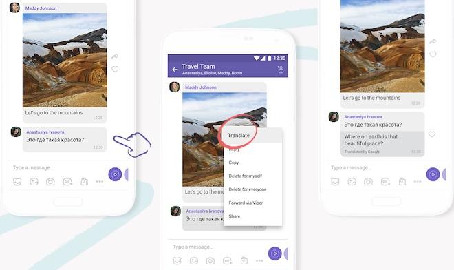 """Viber có thêm tính năng dịch nhanh tin nhắn đa ngôn ngữ bằng 2 """"cú chạm"""" - 1"""
